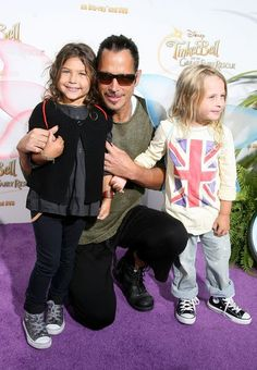 "Musician Chris Cornell and family [Vicky, Toni, Chris and Lil' Chris]arrive at the screening of Disney's ""Tinker Bell And The Great Fairy R..."