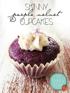 Skinny Purple Velvet Cupcakes & Cream Cheese Frosting!
