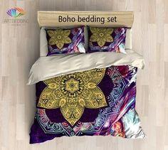 Bohemian bedding, Mandala duvet cover set, Sacred balance lotus mandala bedding…