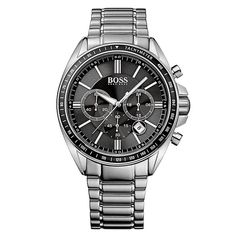 0bf5e7314997 Masculine and stylish, this Hugo Boss Black Driver Sport Chronograph mens  watch features a two-tone stainless steel case/bracelet, date display, ...