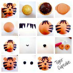 Tiger cupcake instructions