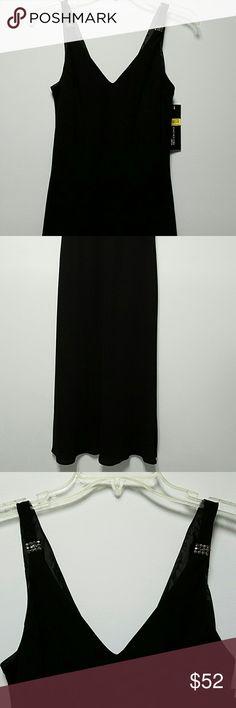 Little Black Dress, Jones New York NWT! Stunning double V neck black dress with rhinestone embellishments on straps. Three quarters length.  Perfect for holiday parties Jones New York Dresses