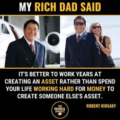 (Credit:in pic) My rich dad said. Entrepreneur Motivation, Business Motivation, Life Motivation, Entrepreneur Quotes, Financial Quotes, Financial Tips, Robert Kiyosaki Quotes, Business Notes, Investment Quotes