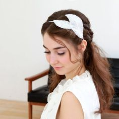 Long Wedding Hairstyles with lace headband