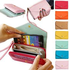 3-in-1 Stylish Smartphone Wallet, Purse & Wristlet - Assorted Colors. Would love to make something similar for travel!