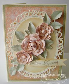 antique appearance...gorgeous paper roses... ditto...gorgeous paper roses & design is sooooooo pretty...mjr