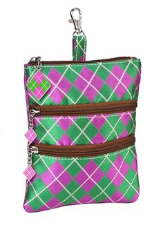 Sydney Love Ladies Clip-On Golf Accessory Bags - Argyle (Pink & Green) Lori's Golf Shoppe