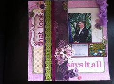 Purple wedding scrapbooking layout
