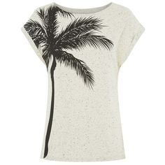 Palm Tree Tee in Beige featuring polyvore fashion clothing tops t-shirts shirts tees long length t shirts beige t shirt boxy t shirt long white shirt long t shirts