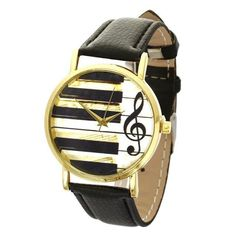 Causal Black Leather Watch For Women. Music Piano Key Black And White Style