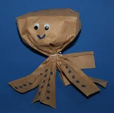 Paperbag Octopus for the letter O, for studying the ocean, for the number 8...