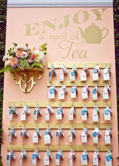 """Teacup Escort Cards [UPDATED The teacup escort cards were displayed on a wall underneath a decorative sign that read, """"Enjoy a spot of tea."""" Escort cards with ea . Tea Party Theme, Tea Party Wedding, Tea Party Birthday, Diy Wedding, Tea Party Favors, Party Favour Ideas, Perfect Wedding, Wedding Cards, High Tea Wedding"""