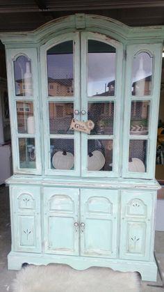Beautiful Pistachio China Cabinet by CORusticChic on Etsy, $975.00