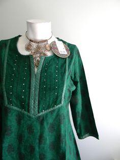 vintage. DEADSTOCK Emerald Green Cotton Indian Tunic / Handmade Long Tunic / S M. $48.25, via Etsy.
