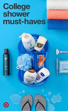 Find bathroom essentials your college student needs to look good, smell good and feel good. From their favorite deodorants and shampoos, to towels and flip-flops, loofahs and razors. Here's to making dorm shower routines as pleasant as they were at home (well, almost). Don't forget the handy shower caddy, it could save the day.