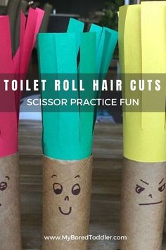 Great for fine motor skills and scissor skills this toilet roll fine motor cutting craft for toddlers is a great toddler activity idea Preschool Learning Toys, Kids Educational Crafts, Fun Activities For Toddlers, Science Crafts, Play Based Learning, Motor Activities, Science For Kids, Preschool Activities, Learning Shapes