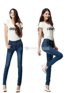 Beautiful Leisure Empire Waist Button Jeans : Tidebuy.com