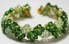 Four-Leaf Clover Beaded Bracelet Pattern 32x4=no. of bicones needed.