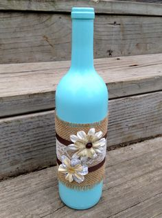 Hey, I found this really awesome Etsy listing at https://www.etsy.com/listing/204930456/shabby-chic-vintage-blue-wine-bottle