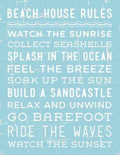 'Beach House Rules' Print