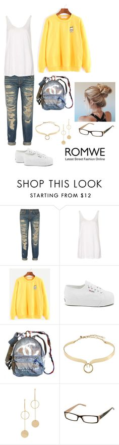 """""""Untitled #281"""" by annalynn2424 ❤ liked on Polyvore featuring R13, Topshop, Superga, Chanel, Alexis Bittar, Cloverpost and Vogue Eyewear"""