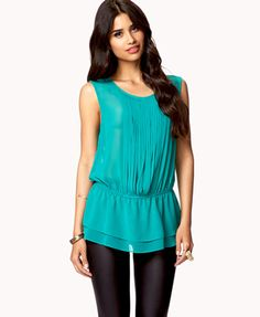 Pleated Woven Top | Jade color