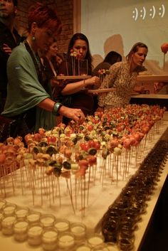 Party appetizer ideas (large piece of styrofoam covered w fabric for various kabobs)