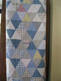 Antique Men's shirtings patchwork quilt, dated 1939.