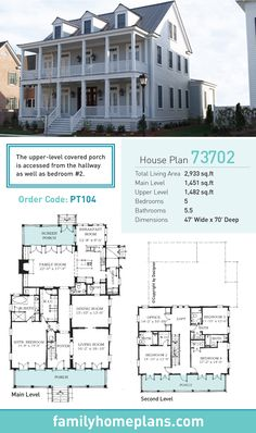 Plantation House Plan 73702   Total Living Area: 3653 SQ FT, 5 bedrooms and 4.5 bathrooms. #plantationhome