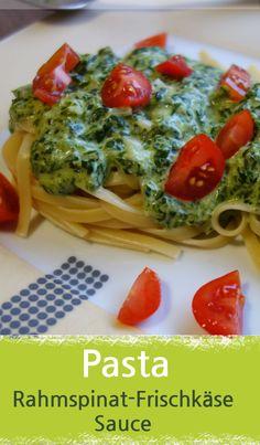 Rezept für Pasta mit Spinat Frischkäse Sauce und Tomaten, ideales Familienessen. Denn dieses Nudelgericht schmeckt den Kids und Eltern. Daher auch bestens als Kinderessen geeignet. Kinderrezept. - Meinestube #nudeln #spinat