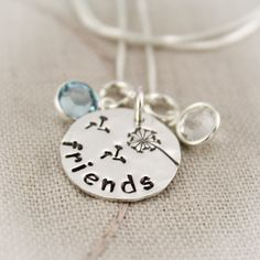 Friends Necklace with Birthstones and Dandelion Sterling Silver Hand Stamped Personalized. $31.95, via Etsy.