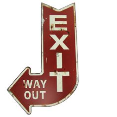 Large RED Exit WAY OUT Metal Arrow Sign BAR Home Theater Wall Decor Vintage REP | eBay