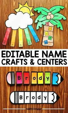Name Crafts and Name Centers from Simply Kinder. Create these editable projects for your students to help them learn the letters in their names! Print and use blank templates or program in a tracing font to assist them! Name Activities Preschool, Name Writing Activities, Kindergarten Names, Teaching Kindergarten, Preschool Classroom, Preschool Learning, Learning Activities, Preschool Activities, Preschool Name Recognition