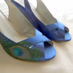 Wedding shoes blue wedges painted peacock feather by norakaren, $225.00
