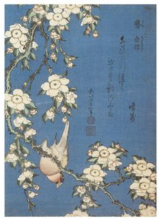 Katsushika HOKUSAI Bullfinch and Weeping Cherry Blossoms , estampe, Guimet Museum, Paris. Era Edo, Edo Period, Art Occidental, Art Chinois, Art Asiatique, Katsushika Hokusai, No Bad Days, Kunst Poster, Art Japonais