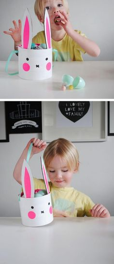 OSterkörbchen basteln-mit kindern-Ideen Hasenohren dekorieren