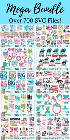 This Mega Bundle comes with over 700 SVG files to use for vinyl decal crafts with Cricut or Silhouette machines! Includes mermaid quotes, flip flops and whales, big brother and big sister, cactus, family, fitness, coffee, baseball and so much more! #ad #svg #cricutmade #cricutexplore #silhouette #cameo #vinyl #decals #momlife #quote #quotes #mermaid #flamingo #babygirl #babyboy #monogram #cactus