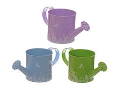 colorful Watering Can Planter with reed pattern, £7.99