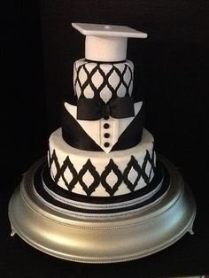 Elegant Graduation Cake or could be grooms cake if you left off the cap!