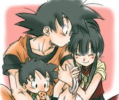 Goku, Gohan and Chichi