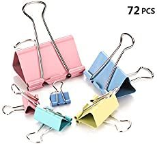 Fireboomoon Binder Clips, Assorted Sizes, Multicolor, 72 per Pack Spring-tight clip keeps files bound together preventing papers from slipping or pulling out Packaged in reusable CPE bag for easy storage Size: Assorted sizes Color: Multicolor Wire Pantry Shelves, Wire Shelving, Paper Binder, Mini Binder, Desk Stationery, Binder Organization, Kitchen Organization, Craft Station