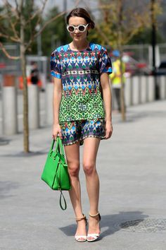 NYFW Street Style Day 7: Elle Catliff brightened up the sidewalk in her technicolor separates.
