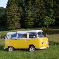 Yellow VW camper van - holiday hire - Scotland