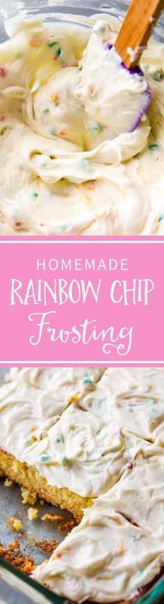 How To Make Sweet And Creamy Rainbow Chip Frosting At Home Tastes Even Better Than The Real Deal Recipe On Mini Desserts, Just Desserts, Delicious Desserts, Dessert Recipes, Yummy Food, Candy Recipes, Rainbow Chip Frosting, Sallys Baking Addiction, Oreo Dessert