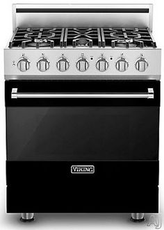 "Viking RVDR33015BBK 30"" Freestanding Dual Fuel Range with 5 Sealed Burners, 18,000 BTU, 4.7 cu. ft. Convection Oven, Heavy-Duty Continuous Grates and TruGlide Full-Extension Rack: Black, Natural Gas"