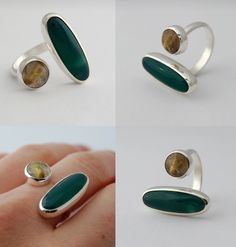 "Ring | Lucie Veilleux.  ""Split"".  Sterling silver and stones"