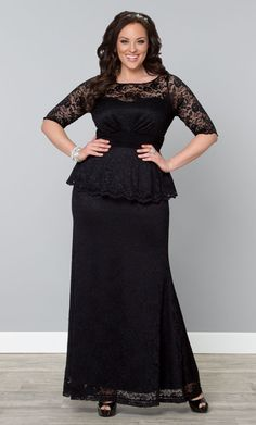 Sometimes you need to go long with your little black dress and our formal plus size Astoria Lace Peplum Gown is a great choice.  Browse our entire made in the USA collection online at www.kiyonna.com.  #KiyonnaPlusYou