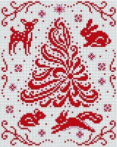 Winter woodland animals cross stitch pattern