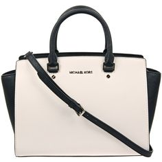 MICHAEL Michael Kors Black & White 'Selma' Two-Tone Satchel ($440) ❤ liked on Polyvore featuring bags, handbags, purses, bolsas, accessories, leather tote, satchel handbags, leather tote handbags, tote handbags and leather satchel handbags