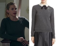2d6e04383db8 Betty Cooper (Lili Reinhart) wears this dark grey embellished brooch  sweater in this episode of Riverdale